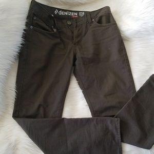 Levi's Denizen  216 Skinny Fit Olive Jeans
